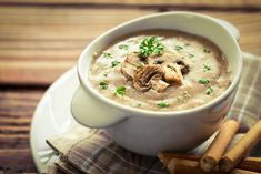 Crohn's-friendly recipes - Cream of Wild Mushroom Soup Easy Mushroom Soup, Mushroom Bisque, Hungarian Mushroom Soup, Best Mushroom Recipe, Mushroom Soup Recipes, Creamy Mushrooms, Stuffed Mushrooms, Dried Mushrooms, Healthy Meals For Two