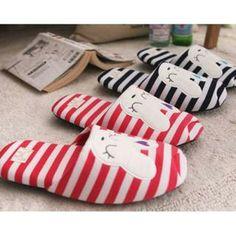 iswas - Rabbit Print Stripe Slippers