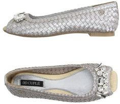 Silver peep toe bridal flat shoes