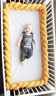 Mustard Yellow Braided Crib Bumper - Knot Pillow, Knot Cushion, Bolster Pillow, Crib Bedding, Baby S Knot Cushion, Knot Pillow, Bolster Pillow, Crib Wall, Shower Bebe, Mini Crib, Baby Hands, Cushions, Pillows