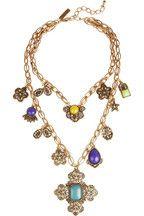 Oscar de la Renta|Gold-plated cabochon medallion necklace|NET-A-PORTER.COM