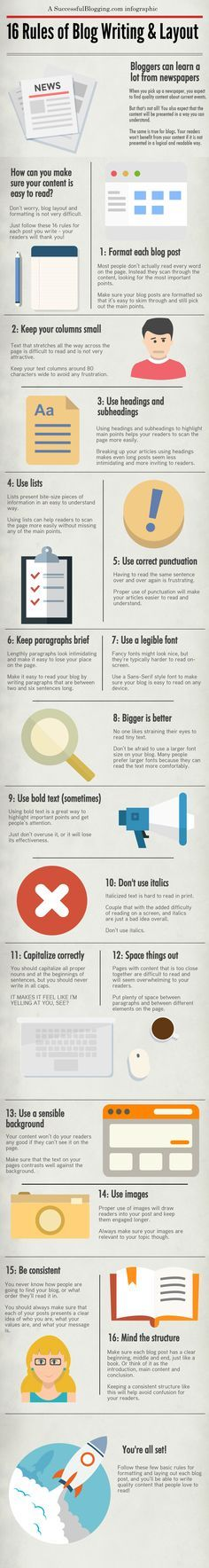 Quality content alone just doesn't cut it anymore on blogs. Not only do people want to read high quality content, they want it presented logically. Check out this infographic to learn the 16 rules!