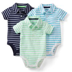 3-Pack Polo Bodysuits | Carters baby boy onesies