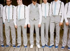 Grey suits, skinny ties, navy Vans