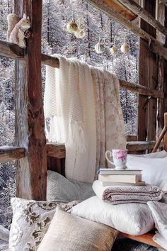 Cozy, warm & whimsical - I could spend all day in this room! Hygge / Cozy / Colsie / Hygge Home / Hygge Lifestyle / Cozy Home / Blankets / Woodland / Hygge Decor / Woodland Decor / Rustic Decor / Winter Cottage Winter Love, Cozy Winter, Winter Cabin, Winter Night, Winter Porch, Winter Coffee, Winter Tips, Hello Winter, Cold Night