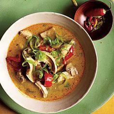Spicy Thai Coconut Chicken Soup.