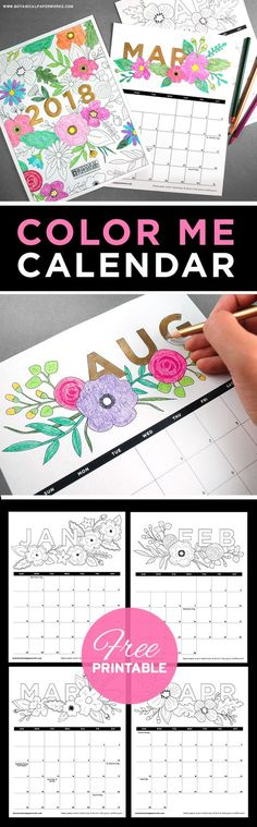 2018 Coloring Calendar | Printable monthly calendar, Goal list and ...