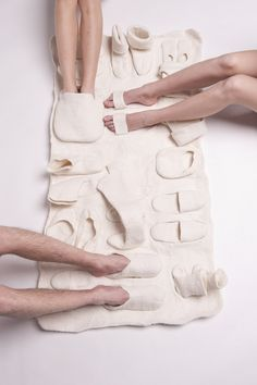 Rug for guests with cold feet.  A nice bonding experience ;) #invention #iwant #friends