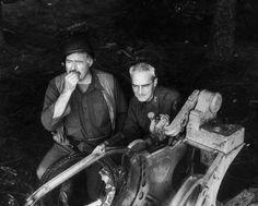 EH3750P Ernest Hemingway with Colonel Charles Buck Lanham in Schweitzer, Germany, during World War II, 1944.