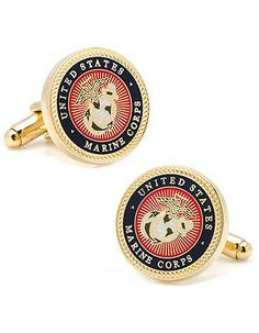 The Few, the Proud, the Marines. Show your support with these commemorative cuff links with the official U.S. Marine Core insignia. Gold plated and enamel Bulle