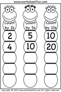 Use these worksheets to practice skip counting by 2's, 5's