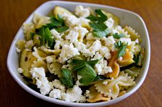 lemon pasta with zucchini and feta - I cut back on the amount of pasta,  added more zucchini & the zest of 1 lemon