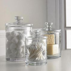 [New] The 10 Best Home Decor Ideas Today (with Pictures) - Shop Glass Canisters. Simple bathroom storage with a retro feel. Handmade glass canisters with nesting lids update a classic apothecary look Bathroom Spa, Simple Bathroom, Bathroom Counter Decor, Bathroom Mirrors, Bathroom Counter Organization, Bathroom Shelves, Bathroom Cabinets, Diy Organization, College Bathroom Decor