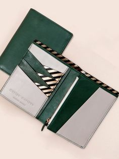 Image of PASSPORT WALLET - Green/Grey - Sale! Shot at Stylizio for womens and mens designer handbags luxury sunglasses watches jewelry purses wallets clothes underwear Card Wallet, Purse Wallet, Pouch, Card Case, Passport Wallet, Passport Cover, Bag Sewing, Wallet Pattern, Leather Projects