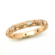Art Deco Eternity Ring  Diamonds and Gold  by SwankMetalsmithing, $950.00