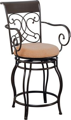 Bar Height Big Amp Tall Copper Back Swivel Bar Stool With Arms By Powell