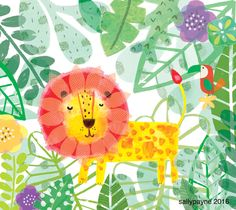 Jungle art. Lion illustration. Vanilla Stitch
