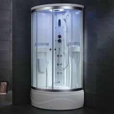 Update and enhance your personal shower with this Ariel Steam Shower Enclosure Kit in White. Keeps your whole body relaxed and eliminates fatigue. Master Bath Shower, Steam Showers Bathroom, Master Bathroom, Steam Shower Units, Steam Shower Enclosure, Steam Sauna, Steam Generator, Small Showers, Built In Seating