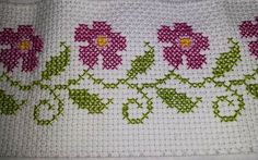 barrinha de pano d prato Cross Stitch Boarders, Cross Stitch Rose, Cross Stitch Charts, Cross Stitch Patterns, Embroidery Stitches, Hand Embroidery, Palestinian Embroidery, Chicken Scratch, Crafts To Do