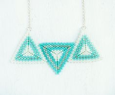 HANDMADE turquoise triangles necklace. beadwork made by NoyaEliaz. Geometric jewelry, chic and made by order! :)