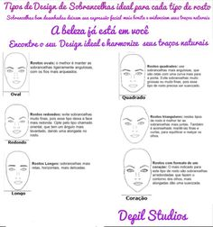 Dicas de design de Sobrancelhas tipo de rosto e sobrancelha ideal para cada tipo