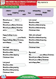"""We Wish You A Merry Christmas"" Fill In The Blanks Christmas Worksheet from Super Simple Learning. #kindergarten #earlyelementary #ESL"