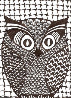 Designs For Zentangles   owl zentangle atc zentangle atc made for swap bot swap