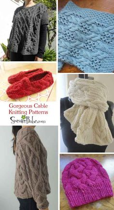 Gorgeous cable Knitting Patterns for sweaters, hats, slippers, scarves, and more! #knitting #SweaterBabe.com
