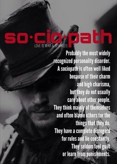 The Sociopath, also known as a psychopath or as having an anti-social personality disorder is a callous, remorseless, self-centered individual with no empathy.I am the most empathetic. He chose his victim well. love this Pin Thanks Abuse Narcissistic Sociopath, Narcissistic Personality Disorder, Sociopath Traits, Narcissistic Behavior, Personality Disorder Types, Narcissistic People, Narcissistic Mother, The Words, Trauma