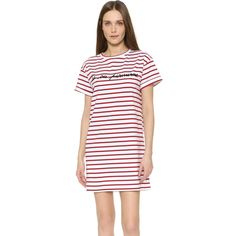 Etre Cecile La Vie Parisienne Oversized Dress ($130) ❤ liked on Polyvore featuring dresses, breton stripe, tee dress, oversized tee dress, oversized t shirt dress, short sleeved striped dress and striped dress
