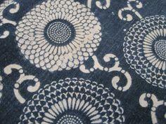 Antique Japanese cotton indigo dyed katazome fabric by luckyredbat, $35.00