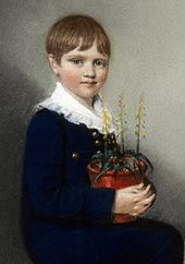 Charles Darwin Three quarter length portrait of seated boy smiling and looking at the viewer. He has straight mid brown hair, and wears dark clothes with a large frilly white collar. In his lap he holds a pot of flowering plants