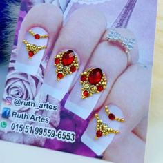 Nails Design With Rhinestones, Beaded Jewelry Patterns, Bling Nails, Nail Designs, Nail Art, Drawings, Nail Jewels, Art Nails, Bling Nail Art