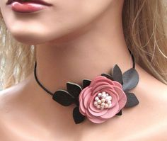 Flower leather necklace choker, honeysuckle pink rose, moss green leaves, pearl center on black leather cord 3 year anniversary gift