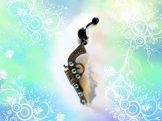 SALE-Belly Ring, Antique Bronze Cowgirl Pistol Gun with Aqua Blue Crystal, Belly Button Ring, Belly Button Jewelry For women or Teens on Etsy, $7.99