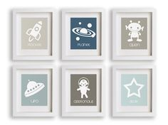 Outer Space  Set of Six Nursery Art Prints  by NikoAndLily on Etsy