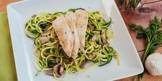 Zucchini noodles are ultra-low in calories and make a great stand-in for pasta. In this recipe, we topped them with pesto, sautéed mushrooms, and chicken.