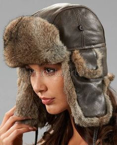 Womens Vintage Rodeo Leather Rabbit Fur Aviator Trapper Hat - Brown Aviator  Hat 74be7a31482b