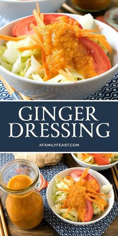 This delicious Ginger Dressing tastes just like the kind you'll enjoy served on the salad at your favorite Japanese restaurant. Ginger Salad Dressings, Salad Dressing Recipes, Japanese Salad Dressings, Best Salad Dressing, Soup And Salad, Pasta Salad, Quinoa Salad, Quinoa Rice, Fruit Salad