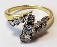 14ct Yellow and White Gold Modeern Diamond ring