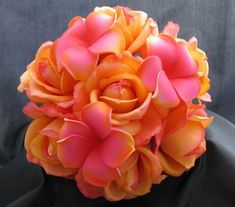 orange and pink bride bouquet lillies calalillies plumeria | touch bouquet orange rose fuchsia plumeria this natural touch bouquet ...