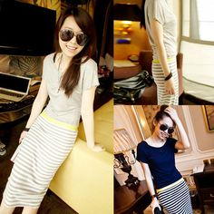 free shipping 2014 bohemia style full dress fashion beach casual stripe ultra long paragraph one-piece dress G222