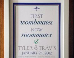 TWIN ANNOUNCEMENT- Wombmates Print- 8 x 10,Wall art, Children Decor