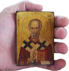 Saint St Nicholas - Orthodox Byzantine icon on wood (8.4 cm x 6.3 cm) by ReligiousIcons on Etsy https://www.etsy.com/listing/202220588/saint-st-nicholas-orthodox-byzantine