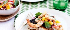 Fish and prawns with mango and macadamias