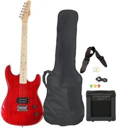 Full Size Black Electric Guitar with Amp, Case and Accessories Pack Beginner Starter Package - Guitar guitar guitar guitar lessons for kids guitar for beginners Beginner Electric Guitar, Electric Guitar And Amp, Cool Electric Guitars, Guitar Kits, Guitar Amp, Cool Guitar, Cheap Guitars, Guitars For Sale, Best Electric Scooter