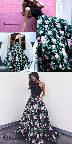 2016 long floral prom dresses, black prom dresses