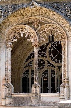 Arches of Bussaco Palace Hotel, Mealhada, Portugal, built between 1888 and is of Romantic design in Neo-Manueline style. Architecture Antique, Beautiful Architecture, Beautiful Buildings, Art And Architecture, Beautiful Places, Windows And Doors, The Doors, Palace Hotel, Architectural Elements