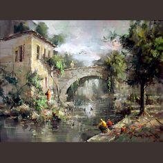 remzi taşkıran - Google Search Landscape Photos, Landscape Art, Landscape Paintings, Watercolor Landscape, Watercolor Art, River Painting, Turkish Art, Rustic Art, Great Paintings