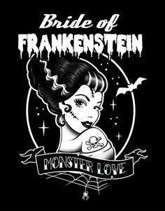 Bride of Frankenstein Arte Horror, Horror Art, Pinup, Rockabilly Art, Zombie Bride, Bride Of Frankenstein, Halloween Art, Halloween Cupcakes, Halloween Recipe